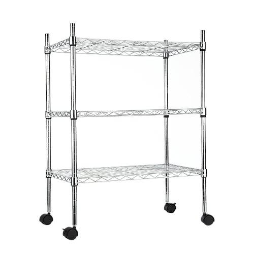 Low-carbon Steel Multifunctional 3-Tier Kitchen Adjustable Storage Rack Organization Shelf with Wheels 24*14*32