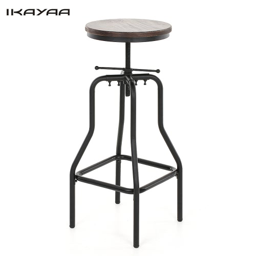 IKAYAA Style industriel chaise ajustable de bar, pin naturel, chaise haute  pour cuisine, f755a1df72a5