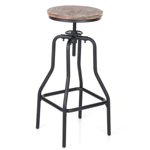 iKayaa Tabouret de bar de style industriel en bois et acier