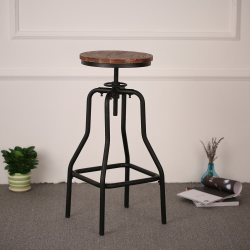 iKayaa stile industriale altezza regolabile girevole Sgabello Bar Naturale Pineta Top Cucina Sala Colazione sedia
