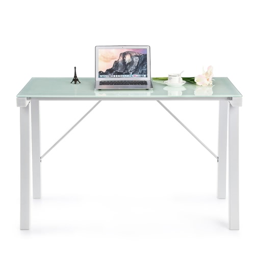 IKayaa Computer Desk Tableta de ordenador portátil de PC Tempered Galss Top 120KG Capacidad de carga