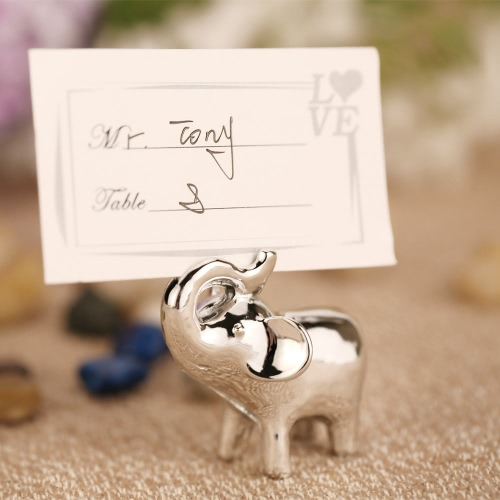 16pcs Lovely Elephant Place Card Resin Holders Table Mark Cards for Wedding Banquet Decoration with Silver Color Finish