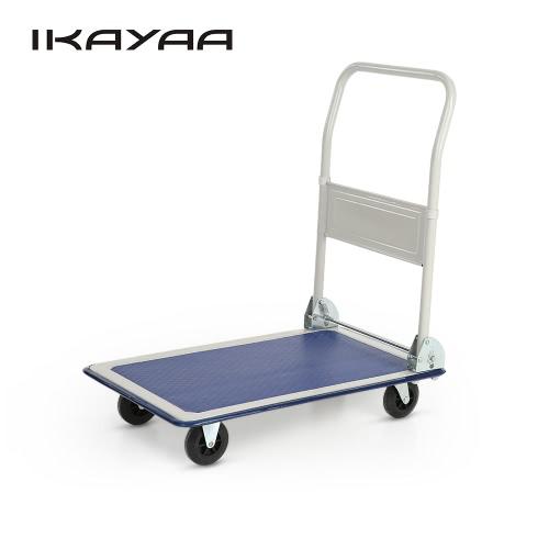 iKayaa robuste 150KG Capacité Plate-forme pliante Camion panier Entrepôt pliable Dolly Main Truck 4 Roues pour Office Industry Garden