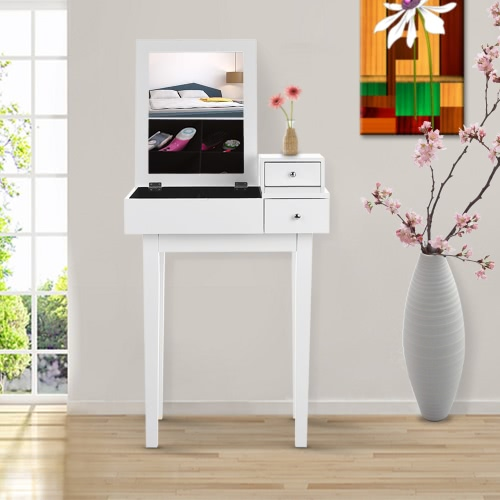 IKAYAA Contemporary Bedroom Vanity Table Make Up Dressing Table W/ Mirror U0026  Drawer Jewelry Armoires Storage Bedroom Furniture