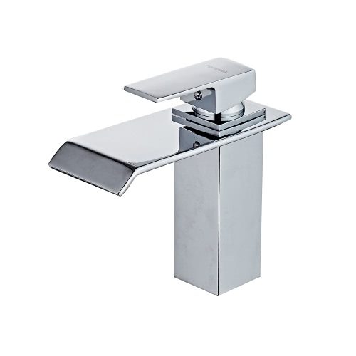Homgeek Modern Single Handle Waterfall Bathroom Vanity Sink Faucet Rectangular Spout Chrome Lavatory Mixer Taps Home Hotel