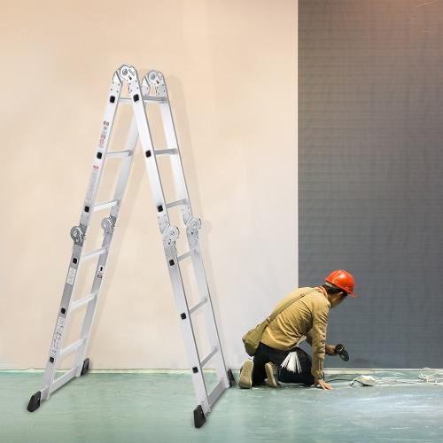 iKayaa 7 in 1 Multi Purpose Stufenleiter Folding Scaffold Aluminium Schiebeleiter Arbeitsbühne W / Sicherheits-Zuhaltung Scharnier 330lb / 150kg Kapazität EN131 genehmigt
