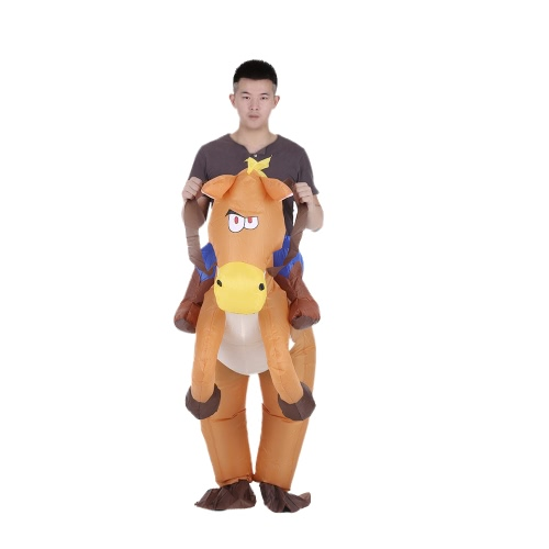 Decdeal Funny Cowboy Rider on Horse Inflatable Costume Outfit for Adult Fancy Dress Halloween Carnival Party Blow Up Inflatable Costume Suit With Battery Operated Fan