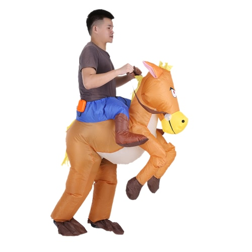 Drôle Cowboy Rider sur le cheval gonflable Costume Outfit pour adultes Déguisements Halloween Carnaval Party Blow Up Costume gonflable Costume Avec Battery Operated Fan