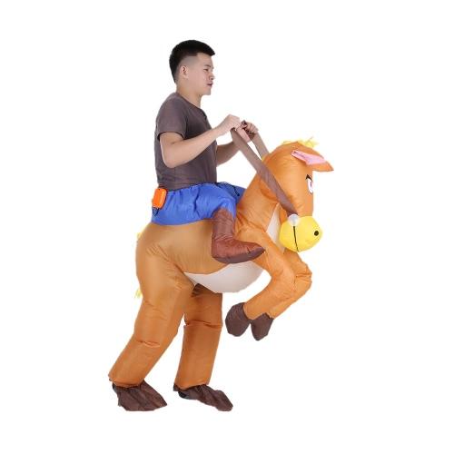 Lustige Cowboy-Reiter auf Pferd Aufblasbares Kostüm-Ausstattung für erwachsene Abendkleid-Halloween-Karnevals-Party Blow Up Aufblasbares Kostüm Anzug mit Batterie-Lüfter betrieben
