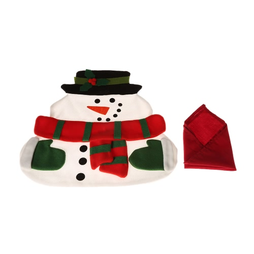 Święto Bożego Narodzenia Boże Narodzenie Snowman Jadalnia Wysokiej Jakości Materac Stołowy Miękki Podwójny Warstwowy Mat Matowy na Boże Narodzenie z serwetką