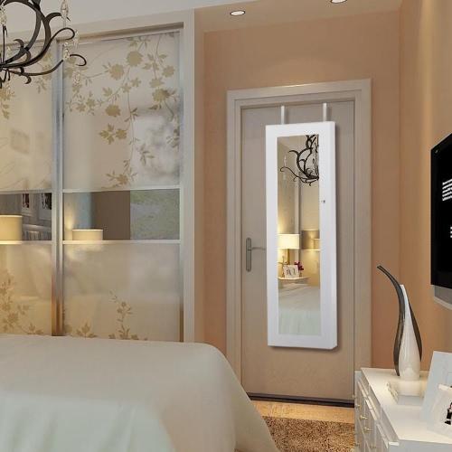iKayaa Lockable Hanging Jewelry Cabinet With Mirror Led Light