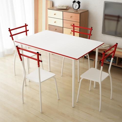 IKayaa marco de metal moderno 5PCS mesa de comedor con 4 sillas Set dinette muebles de la sala de cocina para 4 personas 120 kg de capacidad