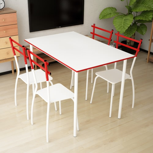 iKayaa Modern Metal Frame 5PCS Dining Table with 4 Chairs Set Dinette Kitchen Room Furniture for 4 Person 120KG Capacity