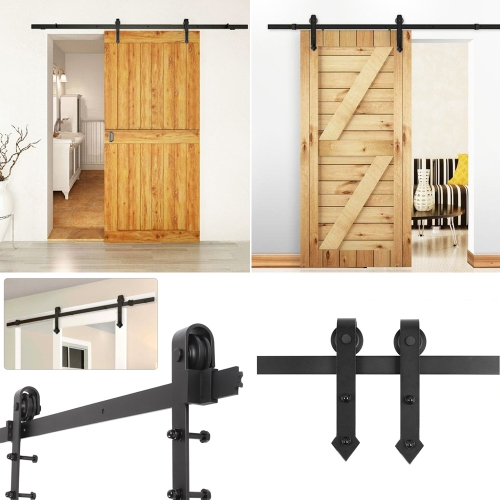 iKayaa 7.2FT Steel Sliding Barn Wood Door Hardware Kit Black Sliding Door Closet Track Set