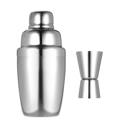 2pcs Stainless Steel Professional 350ml Cocktail Shaker Mixer Kit with 2-way Jigger 15ml/30ml Bartender Set Home Bar Tool
