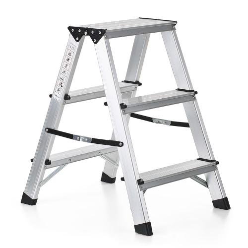 iKayaa Folding 2 Step Ladder 330 Pound Capacity Portable Aluminum Stepladder Non-Slip