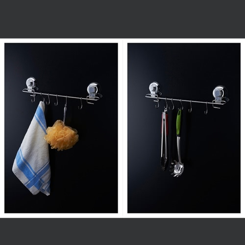 Multifunctional Suction Hanger Rack Space-saving Wall-mounted Suction Cup Hook Holder High Quality Stainless Steel Storage Organiz
