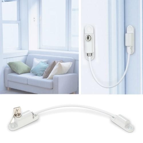 Câble universel de porte de fenêtre Restricteur Enfant Bébé Sécurité Serrure de sécurité Serre-câble Blanc