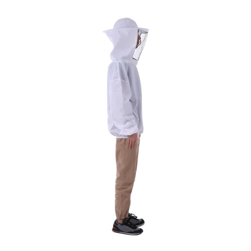 White Beekeeping Jacket Veil Beekeeping Hat Suit Smock Protective Equipment Kit One Size Fits All