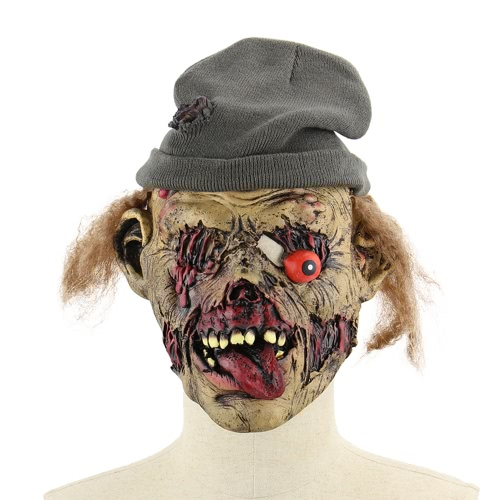 Latex Scary Zombie Mask Horror Masks with Hair Cap for Halloween Masquerade Costume