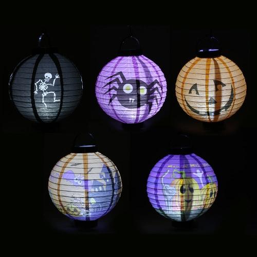 5pcs/set Foldable Halloween Paper with LED Lights Hanging Pumpkin Lanterns