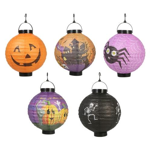 5pcs/set Foldable Halloween Paper Lantern with LED Lights Hanging Pumpkin Lanterns Lamp Decorations--Random Pattern