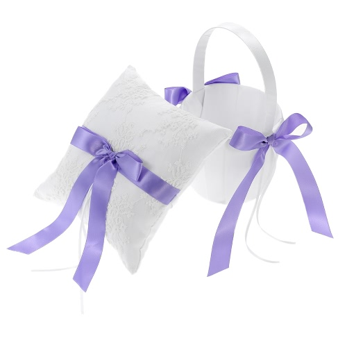 7 * 7 inches Ivory White Satin Purple Bowknot Ring Bearer Pillow and Wedding Flower Girl Basket Set