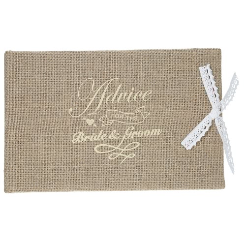 Vintage 72-Pages Burlap Cover Wedding Guest Book Rustic Style Hardcover Double-Sided Wedding Guestbook