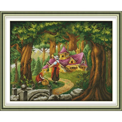 Decdeal DIY Handmade Needlework Cross Stitch Set 70 * 57cm Broderie Kit 11CT Precise Printed Fairy Tale Hut Cross-Stitching Home Decoration