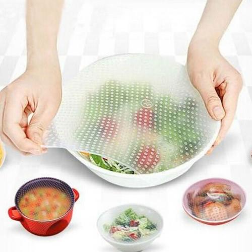 4 Stück Silikon Lebensmittel Erhaltung Film Seal Multifunktions Schüssel Abdeckung Frisch halten Kunststoff Wrap