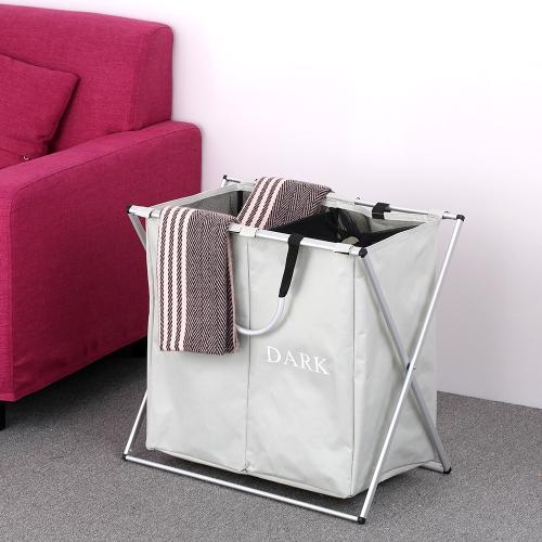 2 Abschnitte faltbare X-Frame Oxford Wäschekorb Hamper Mesh Drawstring schmutzige Kleidung Bin Organizer mit abnehmbaren Aluminiumrahmen