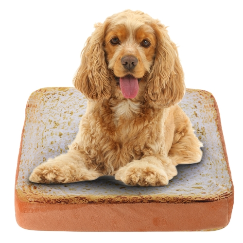 Creative Pet Mat Soft Warm Mattress Bed Cushion Pad Pillow Toast Bread Slice Shape Washable 37 * 37 * 7cm / 15 * 15 * 3in