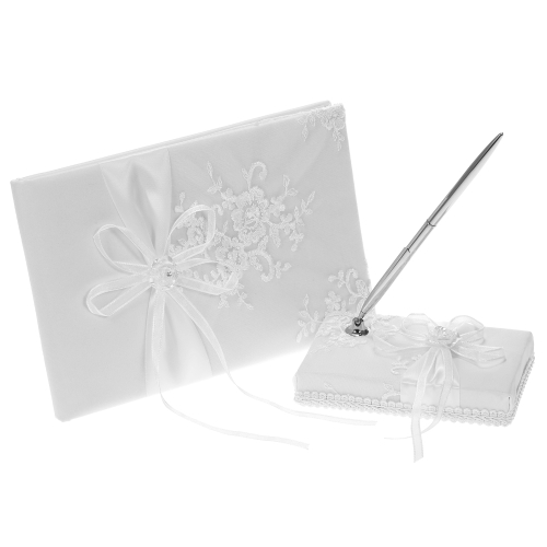 White Satin Ribbon Wedding Guest Signature Book and Pen Stand Set with Flower Embroidery Pattern