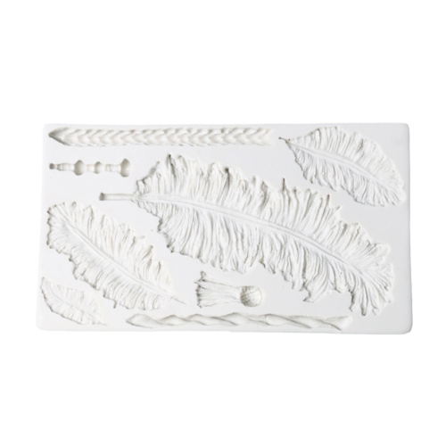 Vögel Federn Schokolade Fondant Kuchen Dekorieren Werkzeug Spitze Grenze Silikonform Backen Sugarcraft Gumpaste Formen Zufällige Farbe