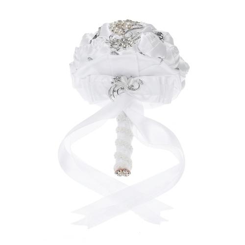 18см ручной свадебный букет Rhinestone свадебный букет атласный розовый цветок с искусственным жемчугом, украшенный для невесты свадебные принадлежности фото