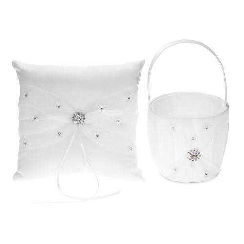 7 * 7 pouces blanc satin strass décoré anneau porteur oreiller et mariage fleur fille panier ensemble