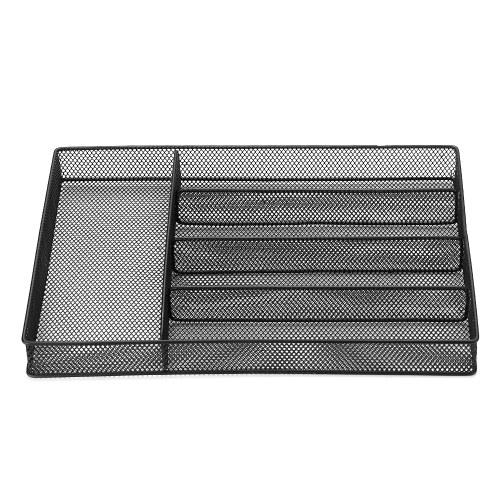 5-Compartments Mesh Metal Flatware Tray