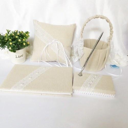 Wedding Accesorries tela da imballaggio del libro degli ospiti di nozze della penna d'oro della penna del fiore della ragazza del contenitore di giarrettiera del pacchetto della ragazza di giarrettiera di 5