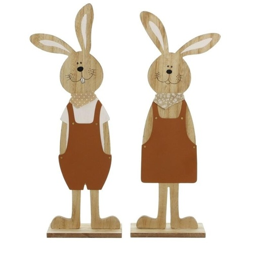 Christmas Wood Figurine Festival Easter Rabbit Shape Statue фото