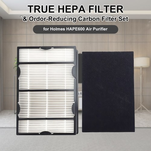 True HEPA Filter and Ordor-Reducing Carbon Filter Set Compatible with Holmes HAPE600 Air Purifier Air Cleaner