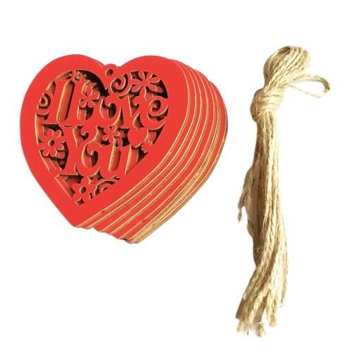10 piezas corazón de madera hueco te amo con cadena adornos colgantes de boda decoración artesanal de bricolaje