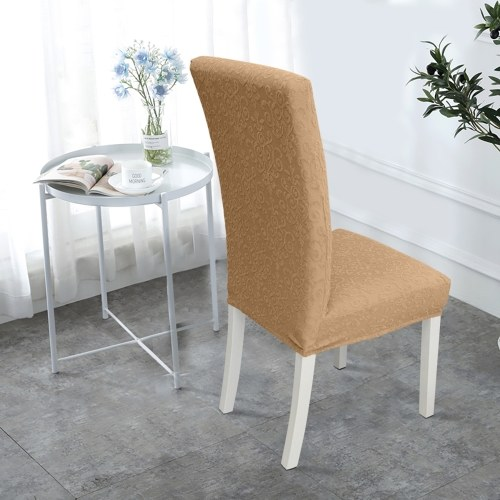 Dining Chair Slipcover, High Stretch Removable Chair Cover Washable Chair Seat Protector Cover, Jacquard Pattern, Chair Cover Slipcover for Home Party Hotel Wedding Ceremony, Camel
