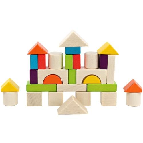 30 PCS Colorido Blocos de Construção de Madeira Blocos de Quebra-Cabeça Crianças Brinquedos Infantis Puzzle Formas Pré-escolares Blocos Geométricos Jogos de Empilhamento
