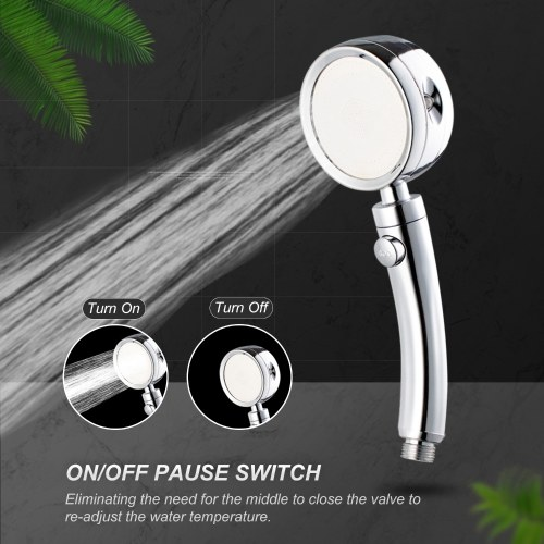 High Pressure Shower Head with 4 Spray Settings ON/Off Pause Switch Water Saving Polished Handheld Showerhead G1/2 Adjustable Bathroom Shower Head Bath Handheld Shower Head Replacement