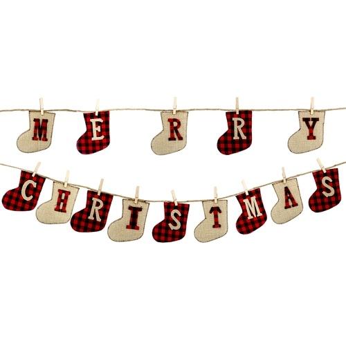Decorazione natalizia a forma di calzino della bandiera di buon Natale