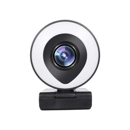 Webcam Streaming 1080P Full HD avec double microphone et anneau lumineux USB Web Camera Stream pour ordinateur portable YouTube OBS