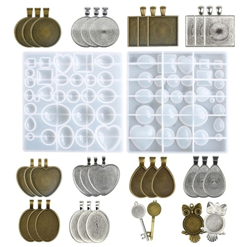 35PCS Crystal Glue Silicone E-arrings P-endant J-ewelry Mold with Tray