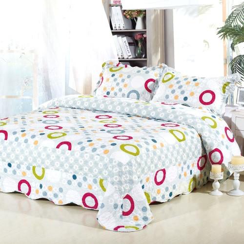 3Pcs Bedding Set 230 * 230 CM Checked Flower Printed Pattern Polyester Fiber Patchwork Quilt Comforter Pillow Cases Bedclothes Home Textiles
