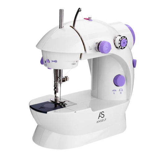 Anself Mini Household Purple Electric Sewing Machine 2 Speed Adjustment with Light Foot Pedal AC100-240V