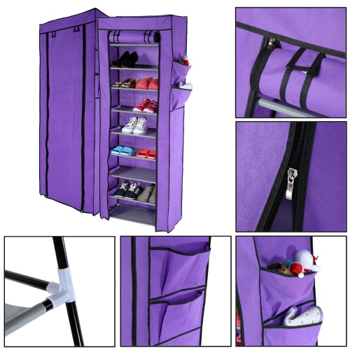 Multi-function Compositional 10 Tier 27 Pair Tower Shoe Rack Nonwoven Dustproof Shoes Cabinet Storage Racks